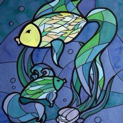 Витраж «Рыбки» Анна Лепешкевич, 16 лет